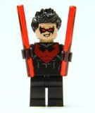 LEGO Nightwing minifigure (Red Version) - includes 2 Red Baton Weapons