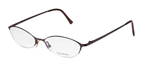 Vera Wang V101 For Ladies/Young Women/Girls Cat Eye Half-rim Titanium Half-rimless Eyeglasses/Eye Glasses (50-17-135, Wine)