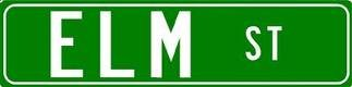 ELM ST Aluminum Street Sign (Hole Street Sign)