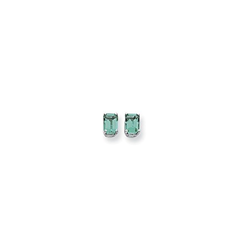 (Perfect Jewelry Gift 14k White Gold 7x5mm Emerald Cut Mount St. Helens Earrings)