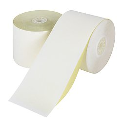 Office Depot 2-Ply Paper Rolls, 2 1/4in. x 100ft, Canary/White, Carton Of 50, 553975
