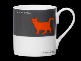 (Silhouette Cat Funny Bone China Mug It Was The Dog Stoke On Trent England Orange)