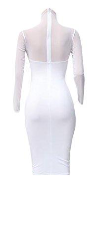 Jaycargogo Des Femmes De Maillage Simple Ajustement Mince Sauvage Manches Longues Voir À Travers Robe De Club 2 Bodycon