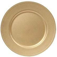 Charger Plates | Gold Color beaded Rims | 13 in | Home Décor | Thanksgiving, Christmas, New Year dining (set of 4). -