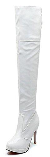IDIFU Women's Sexy Stiletto High Heels Platform Zipper Lace Up Long Over Knee High Boots White 9 B(M) ()