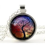 Silver Charm & Chain- Tree of Life Necklace Pendant - Gifts for Her Mum Girls