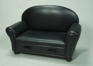 Gift Mark Upholstered Chaise Lounge with Pull Out Drawer, Black (Upholstered Chaise Lounge)