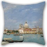 Elegancebeauty Oil Painting Eugène Louis Boudin - Venice, Santa Maria Della Salute From San Giorgio Pillow Cases 18 X 18 Inches / 45 By 45 Cm For Him,boy Friend,son,kids Girls,club,gril Friend (Chiefs And Royals Pennant Shirt)