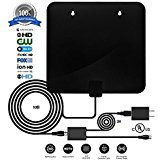 Digital Antenna,TV antenna for digital tv indoor,2018 Best HDTV Antenna with UL Power Adapter, 60+ Miles HD Antenna 1080P 4K Freeview Antenna With 10+3ft Coax Cable & Detachable Signal Booster
