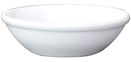 Ceramic Side Sauce Dish and Pan Scraper, 3 Inch, 2 Ounce, Bone White, ()