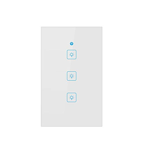 Stheanoo Smart Switch WiFi Remote Control 3 Way Button Switch Multifunction Smart Wi-Fi Light Switch Easy In-Wall Installation, Compatible with Alexa, Google Home App -