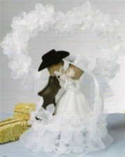 Jamie Lynn Unisex Western Wedding Cake Topper White One Size
