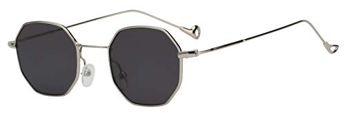 Women Polygon Shape Vintage Smoke Lens Sunglasses Silver Metal Frame