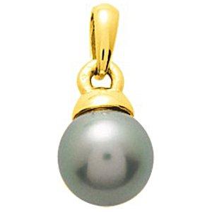 So Chic Bijoux © Pendentif Femme Calotte Epaisse & Perle de Tahiti 9 mm Reflets Verts Or Jaune 750/000 (18 carats)