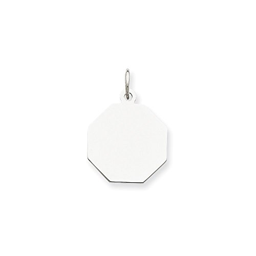 Sterling Silver Engravable Octagon Disc Charm (17 x 15mm)