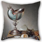 Slimmingpiggy Oil Painting Marten Boelema De Stomme - Still-Life With Nautilus Cup Throw Cushion Covers 16 X 16 Inches / 40 By 40 Cm Gift Or Decor For Divan,saloon,home Office,lover,deck Chair,bar