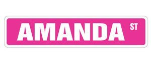 (AMANDA Street Sticker Sign kids room childrens name gift kid child boy girl wall entry - Sticker Graphic - Auto, Wall, Laptop, Cell, Truck Sticker for windows, cars, trucks, tool boxes, laptops )