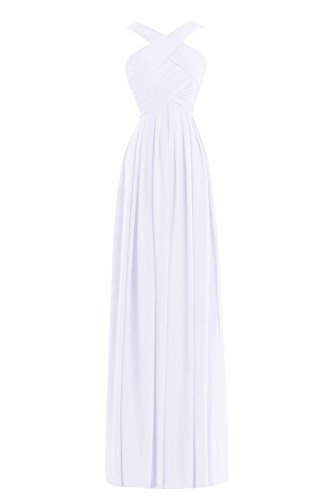 Formal A Long Women´s Bess Dress Bridal with Chiffon White Straps Line Bridesmaid 5xwXICEIq