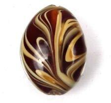 (Lampwork Handmade Glass Amber Taffy Swirl Oval Pendant Focal Bead)