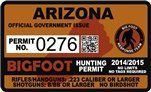 "Arizona AZ Bigfoot Hunting Permit 2.4"" x 4"" Decal Sticker"