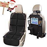 Car Seat Protector and Kick Mat Car Seat Organizer, Whew Waterproof Padding Protector for Baby Convertible Car Seat with Backseat Organizer