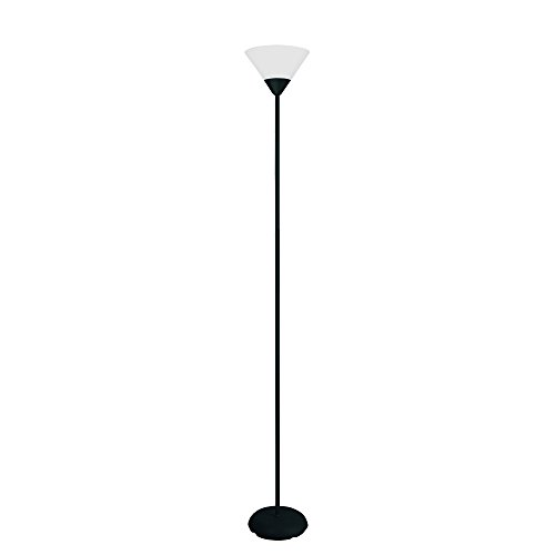 Simple Designs LF1011-BLK 1 Light Stick Torchiere Floor Lamp, Black