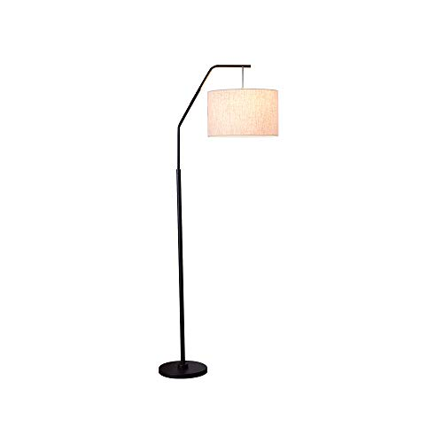 Starry Lighting SL-63454, Single Light Floor Lamp,Simplicity Antique Black Metal Floor Light,Linen Fabric Lampshade