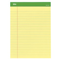 Office Depot(R) Brand Writing Pad, 8 1/2in. x 11 3/4in., 100% Recycled, Canary, 50 Sheets Per Pad, 6 Pads Per Pack