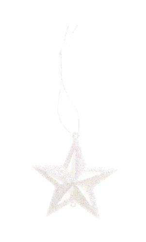 Darice 2469-32 12-Piece Star Glitter Ornament, 2-Inch, White