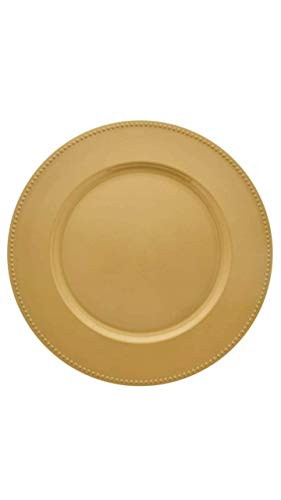 Charger Plates | Gold Color beaded Rims | 13 in | Home Décor | Thanksgiving, Christmas, New Year dining (set of 4). (4) (Plates Charger Thanksgiving)