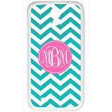 iFUOFF Amazing Cyan and White Zigzag Chevron Pink Circle Monograms Customized Protective Snap On Fashion Case for Samsung GALAXY S4 mini (Black or White 2 (Lion King Htc One M7 Case)
