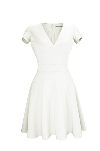 Heloise Women's A-Line Short Sleeve V-Neck Pleated Little White Cocktail Party Dress (XL, Off White)