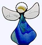 Artic Fox Handcrafted Angel (Blue/Green) Suncatcher Stained Glass Ornament