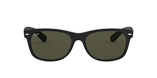 Ray-Ban RB2132 New Wayfarer Sunglasses, Black Rubber/Green, 52 ()