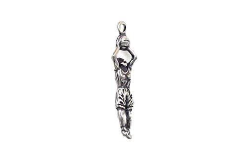 Sterling Silver 3-D Girl Basketball Player Charm for Jewelry Making Bracelet Necklace DIY Crafts