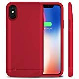 iPhone X Battery Case,VinPone Slim iPhone 10 Portable Charge Case Rechargeable Portable External Battery Charger Pack Protective Charging Case Power Bank Cover (Ultra Slim-Red)
