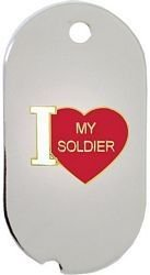 "US Army ""I Love My Soldier"" Dog Tag Key Ring, My Pet Supplies"