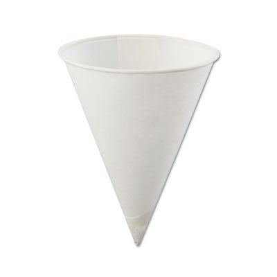 Ounce 4 Cartons (Konie Poly-Bag Rolled-Rim Paper Cone Cups, 4oz, White, 5000/Carton)