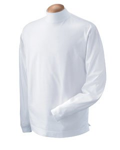- Unisex Sueded Cotton Jersey Mock Turtleneck Shirt, Color: White, Size: Medium