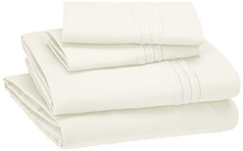 AmazonBasics Embroidered Hotel Stitch Sheet Set - Premium, Soft, Easy-Wash Microfiber - Queen, Off-White