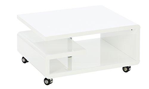 Robas Lund Kira Mesa de Centro y de Salon, MDF, Blanco, 16x66x80 cm