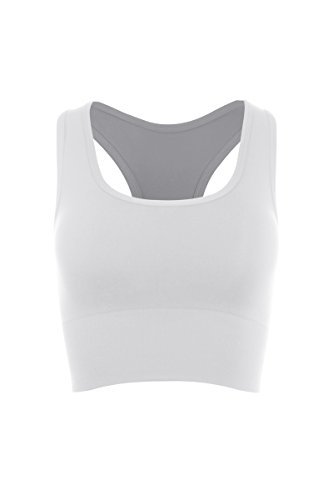Kurve Super Comfort Padded Wide Band Sports Bra -Made in USA- (Xs/Med, White)