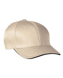 Yupoong Flexfit Cool & Dry Sandwich Cap, Khaki/Navy, L/Xl (Cap Bill Sandwich Spandex)