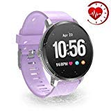 YoYoFit Smart Fitness Watch with Heart Rate Monitor, Waterproof Fitness Activity Tracker Step Counter with Music Player Control, Customized Face Look GPS Pedometer Watch for Women Men, Purple