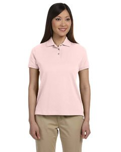 (Devon & Jones Women's Solid Perfect Polo Shirt, Pink, X-Large)