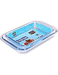 Utopia Kitchen Borosilicate Glass Oblong Baking Dishes 2-Pack Glass Bakeware - 1.8L (11.5 x 7 x 2 Inch) & 2.4 L (13.5 x 8 x 2 Inch) - Dishwasher Safe & Oven Friendly ()