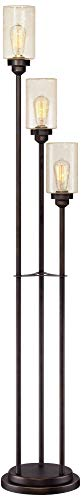 Libby Vintage Floor Lamp 3-Light Oiled Bronze Amber Seedy Glass Dimmable LED Edison Bulb for Living Room Bedroom - Franklin Iron Works by Franklin Iron Works (Image #1)