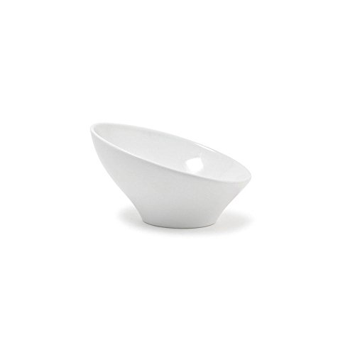 "Front of the House DBO056WHP22 Slanted Bowl, 4.5"" Height, 7.5"" Diameter, 14 oz, Porcelain, White (Pack of 6)"