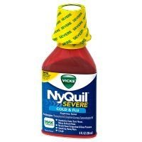 Vicks Nyquil Severe Cold & Flu Nighttime Relief Liquid, Berry, 8 oz (Pack of 12)