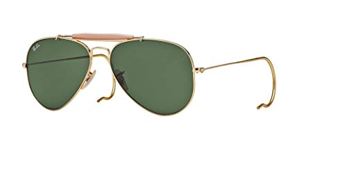 (Ray-Ban RB3030 OUTDOORSMAN L0216 58M Arista/Green Crystal Sunglasses For Men For Women)